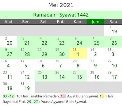 Kalender Islam Bulan Mei 2021 dan Peristiwanya