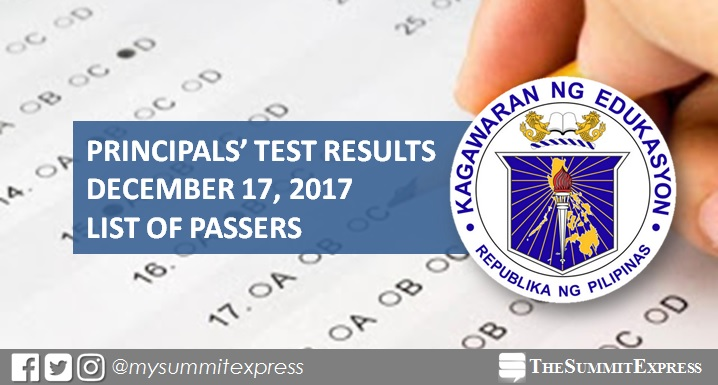 LIST OF PASSERS: December 2017 Principals' Test NQESH results