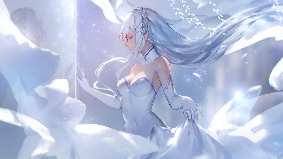 Emilia, Re:Zero, Anime, Girl, 4K, #4.2678