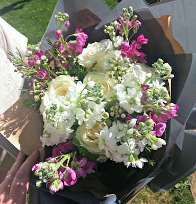 Wrapped flower bouquet from Beards and Daisies