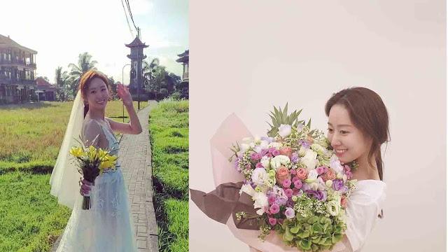 Jeon hye Bin bahagia saat menggelar momen Pernikahan Dibali