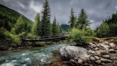 HD Wallpaper River, Bridge, Stones, Trees, Nature
