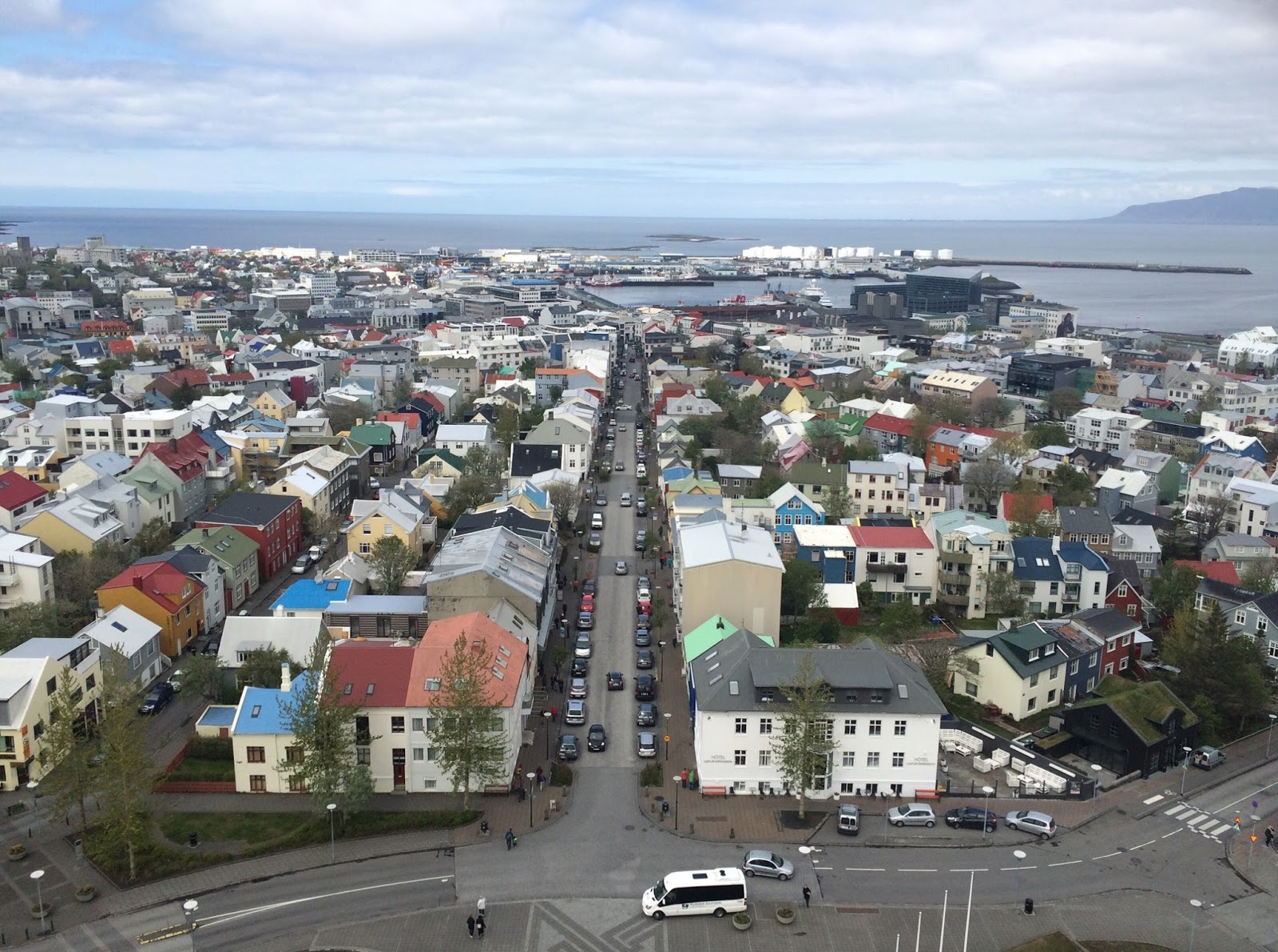 View on Reykjavik, Iceland from the top of the church