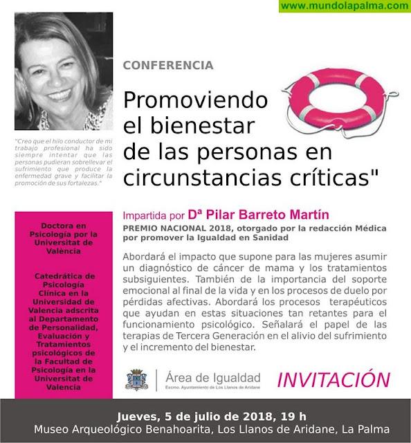La prestigiosa psicóloga Pilar Barreto imparte  una conferencia sobre el bienestar de las personas en circunstancias críticas