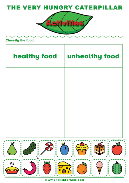 The Very Hungry Caterpillar healthy and unhealthy food worksheet