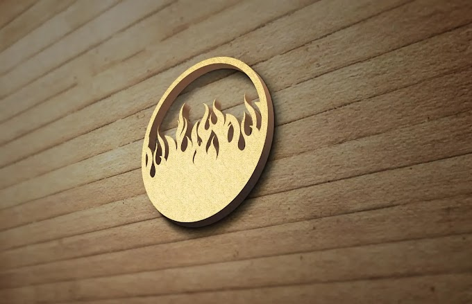 3D Wood Wall PSD Logo Mockup