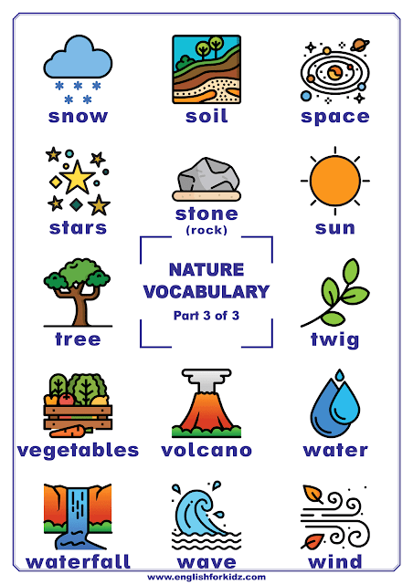 Nature vocabulary for English learners - ESL and EFL printables