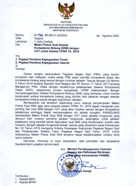 Surat Edaran Menpan RB Tentang Materi (Kisi-kisi) SKB Tes CPNS Formasi Tahun 2019/2020