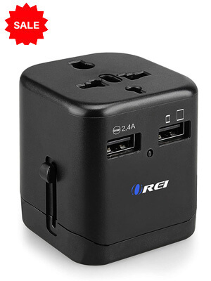 Travel Adapter with Build-in Dual USB Charger Ports