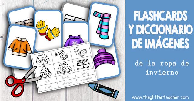 Tarjetas de vocabulario y diccionario de imágenes de la ROPA DE INVIERNO