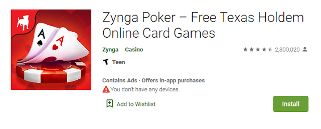 Zynga Poker game poker android ringan