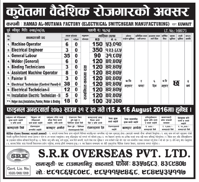 Jobs in Kuwait for Nepali candidates, Salary Up to Rs 1,23,685