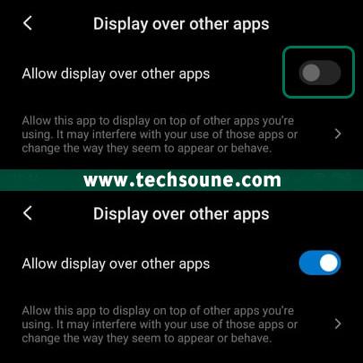 تفعيل خيار Display Over other apps
