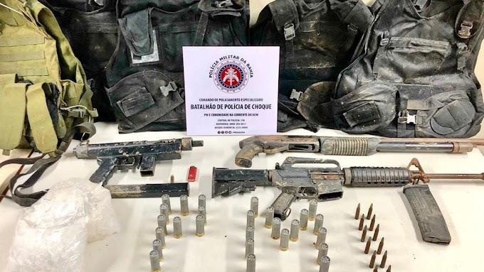 Fuzil, metralhadora e espingarda são encontrados em bunker em Sussuarana