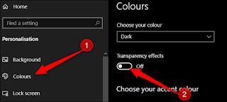 انقر فوق الألوان في الجزء الأيمن ، ثم أدر تأثيرات الشفافية على إيقاف التشغيل