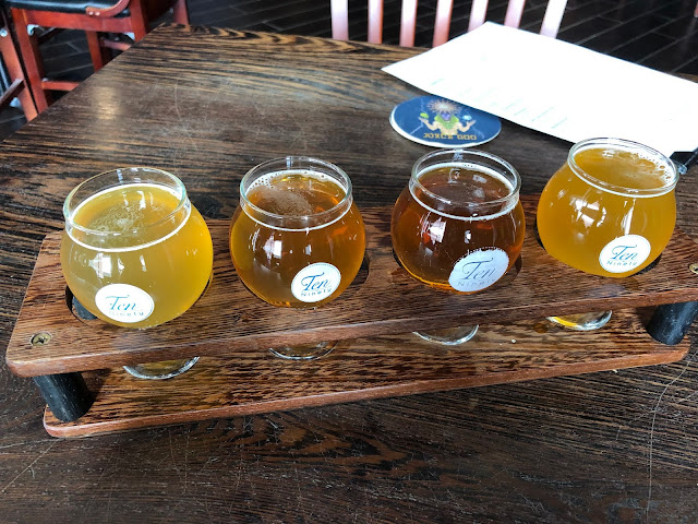 A flight of craft beer at Ten Ninety in Glenview, Illinois.
