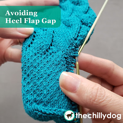 Knitting Tutorial: How to prevent heel flap gap in flap and gusset style sock heels.
