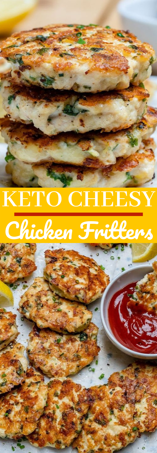 Keto Cheesy Chicken Fritters #healthy #lowcarb
