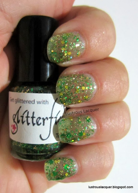 Glitterfied Nails Astro Turf, Green Gold Glitter