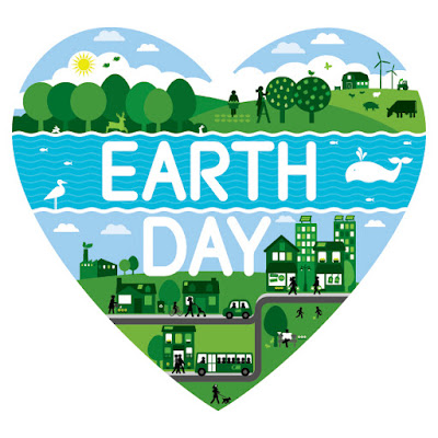 Heart with text: Earth Day. Image of whales and city scene, and park with trees