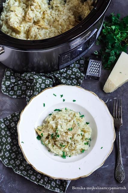 wolnowar, risotto, karczochy, obiad, crockpot, bernika, kulinarny pamietnik