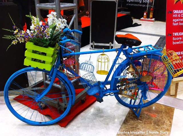 Noida Diary: People posed for a click near this beautifully decorated bicycle