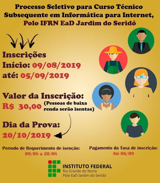 Inscrições abertas para curso subsequente informática para internet do IFRN Jardim do Seridó