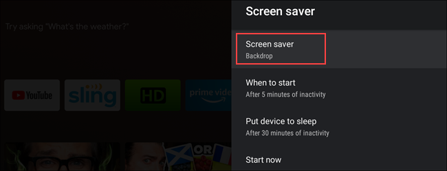 Screesaver menu Android TV