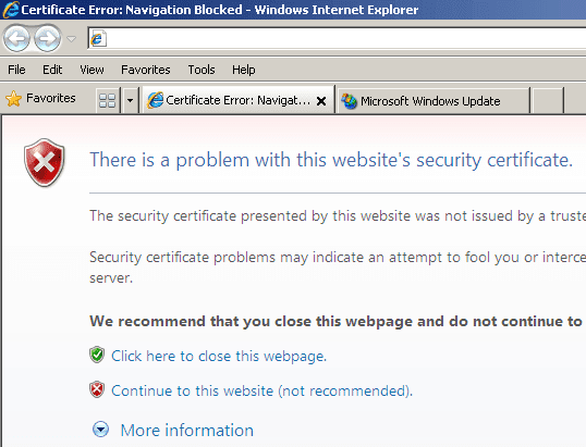 There is a problem with this website's security certificate