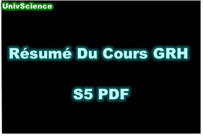 Résumé Du Cours Gestion des Ressources Humaines S5 PDF.