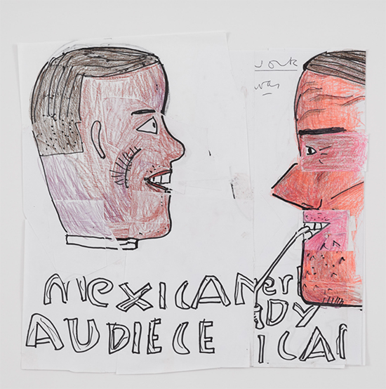 drawing Rose Wylie Mexican Can, 2019 Pen, coloured pencil, marker and collage on paper 32.5 x 31.7 cm