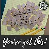 "Scattered Scrabble pieces with Back to School showing; black background underneath that says ""You've got this"""