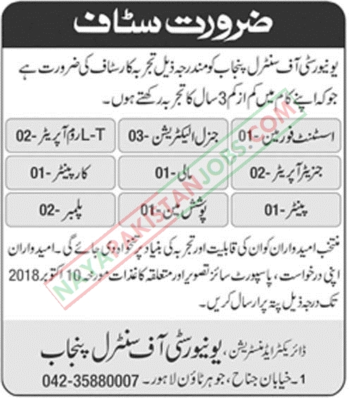 Latest Vacancies Announced in University Of Central Punjab UCP Lahore 08 Oct 2018 - Naya Pakistan