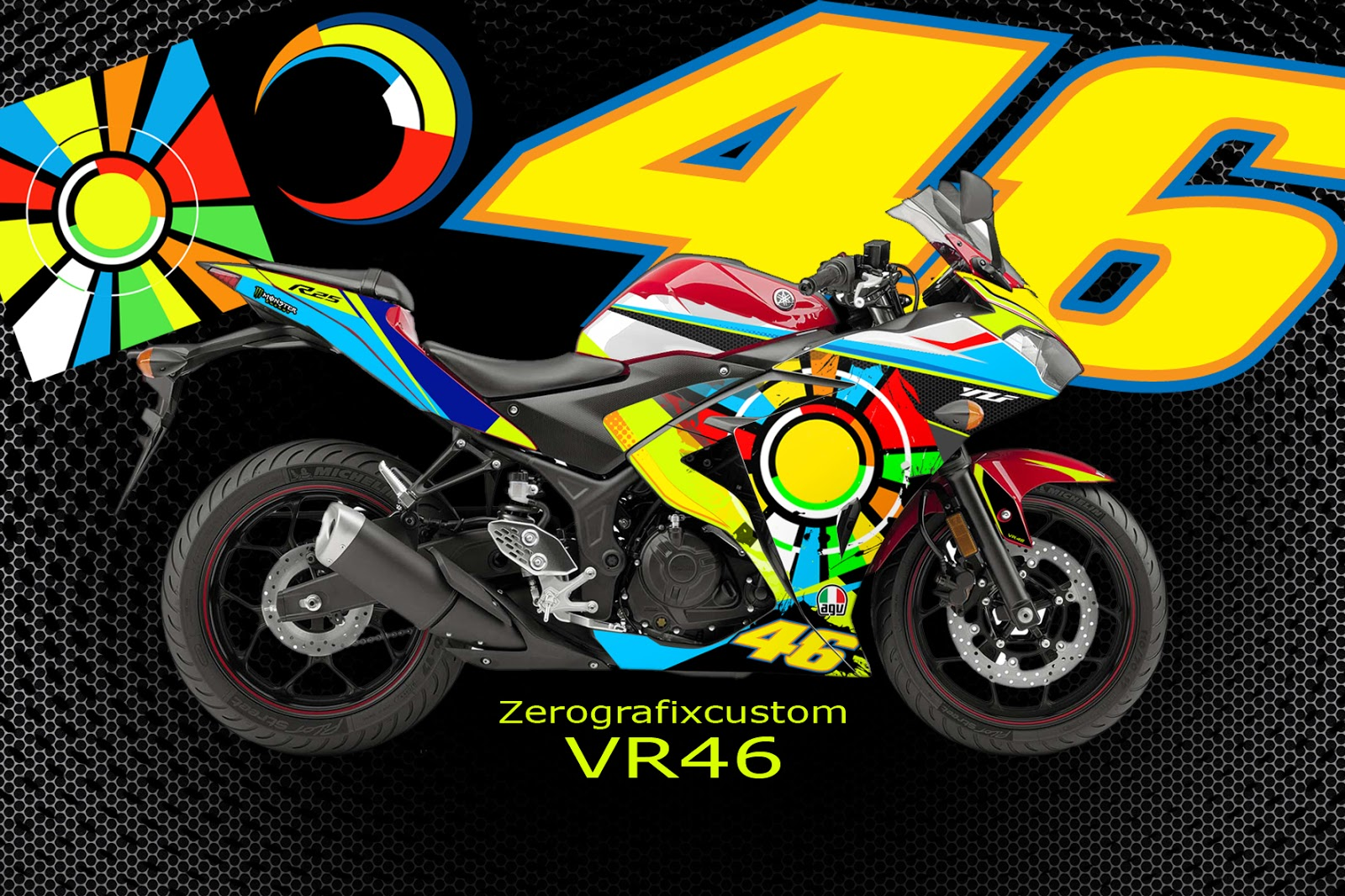 Decal stickers yamaha r25 r3 vr46 edition