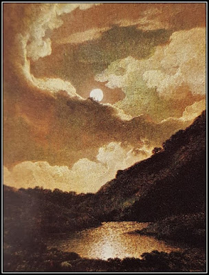 Πίνακας με εικόνες της αντανάκλασης του σεληνόφωτος σε ήρεμα νερά