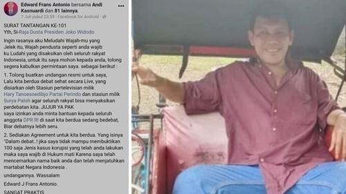 Ingin Ludahi Wajah Jokowi, Pria Cilegon: Raja Dusta Tolong Kabulkan Permintaan Saya