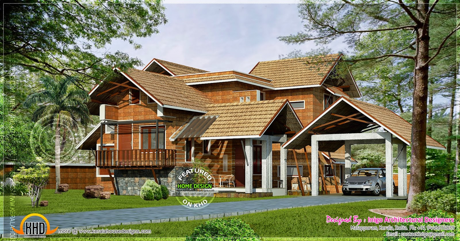 Kerala traditional laterite house kerala home design and for Traditional indian house designs