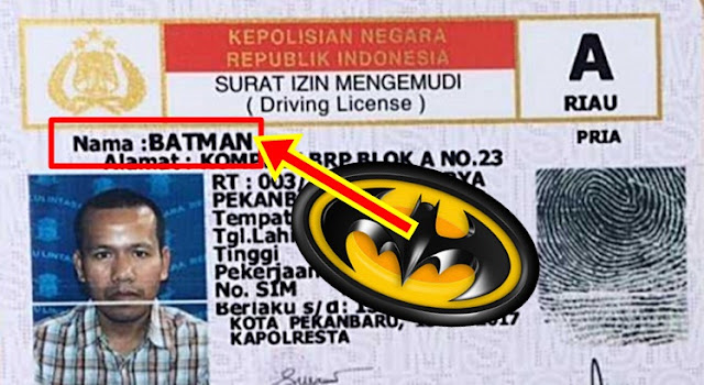 Kejadian Langka dan Anda Tak Akan Percaya Begitu Saja.. Batman Ada di Pekanbaru sedang Mengurus Perpanjangan SIM buat Polisi Terkaget-kaget