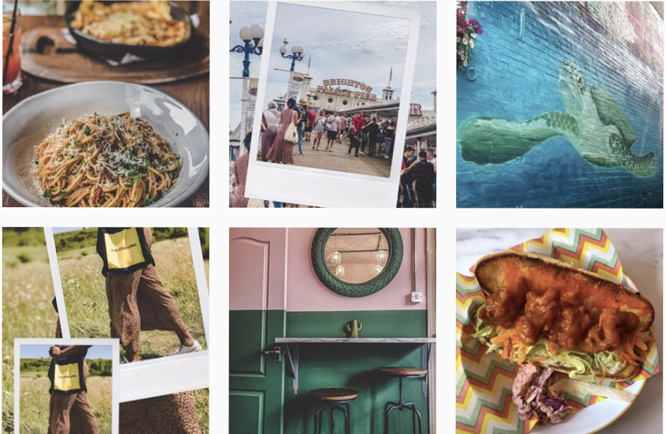 A collage of the my last 6 instagram posts: a vegan meatball sub, cafe interior, flocking in a field, street art of a turtle, shot of Brighton pier and a plate of Bella Italia prawn spaghetti Bolognese