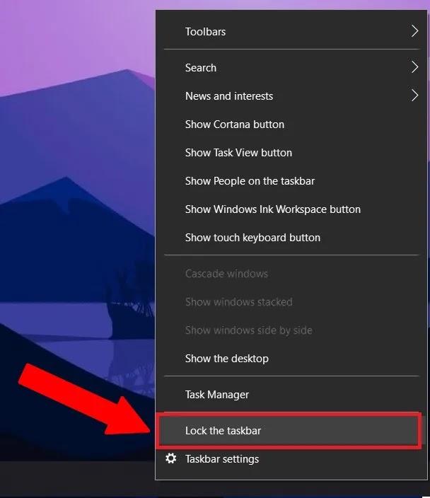 قفل أيقونات شريط مهام Windows 10
