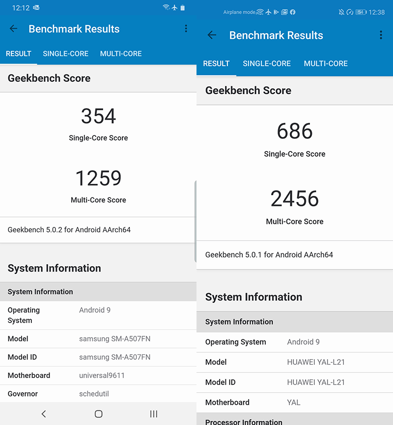 A50s vs Nova 5T Geekbench 5