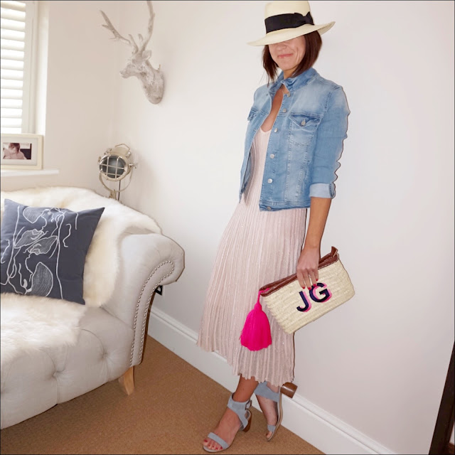 My Midlife Fashion, hm panama hat, zara denim jacket, hands glittery dress, initially london ibiza clutch, marks and spencer block heel studded sandals