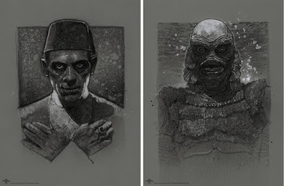 MondoCon 2019 Exclusive Universal Monsters The Creature From The Black Lagoon & The Mummy Screen Prints by Drew Struzan x Mondo