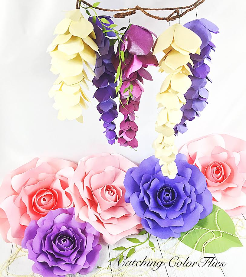 Hanging paper wisteria tutorial templates catching colorlfies how to make paper wisteria mightylinksfo Choice Image