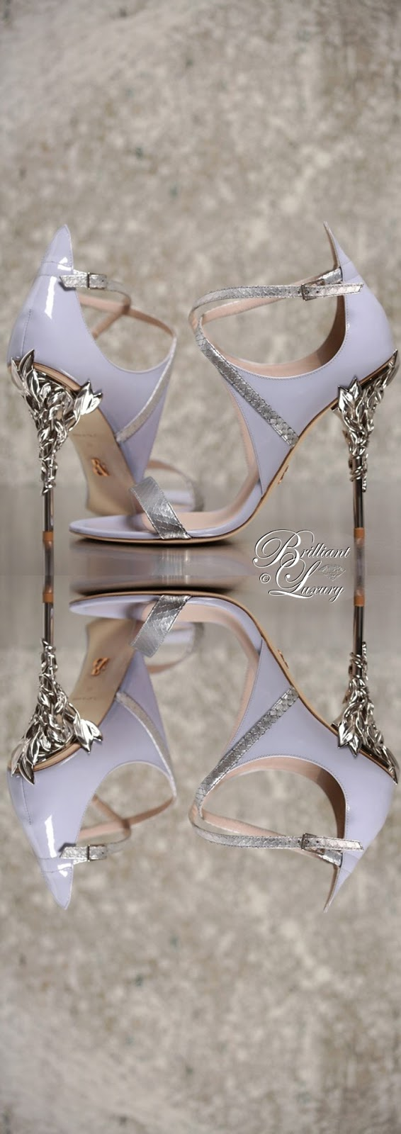 Brilliant Luxury ♦ Ralph and Russo  Eden Sandal in Lavender & Silver Python with Silver Sleaves