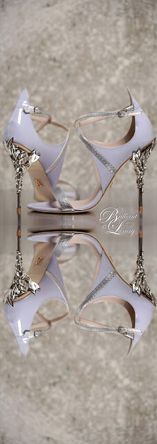 Ralph & Russo Eden sandal in lavender and silver python leather with silver sleaves #brilliantluxury