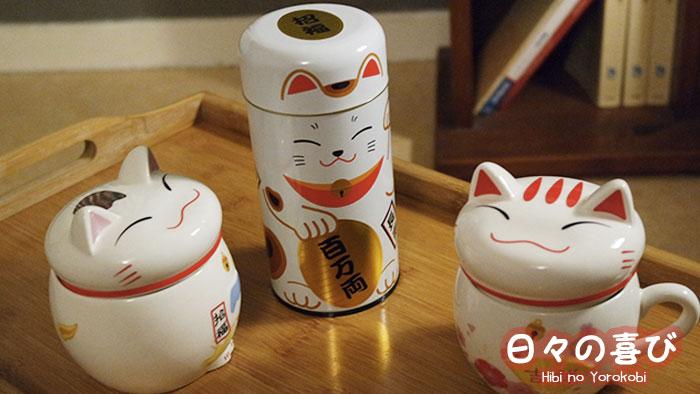 mugs et boite à thé maneki neko