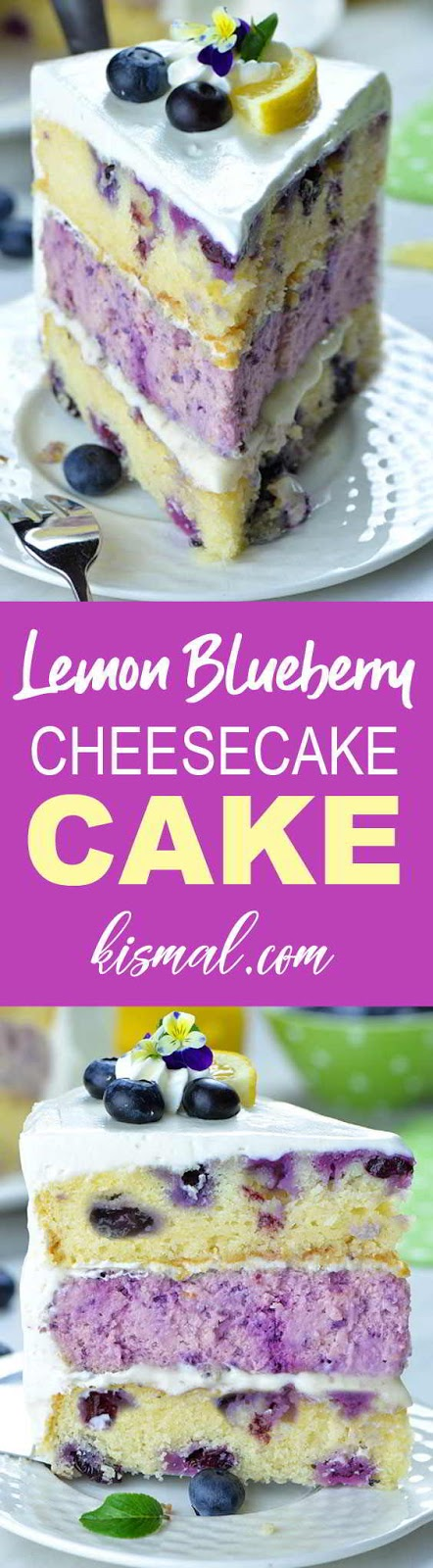 Lemon Blueberry Cheesecake Cake #cakes #cheesecakes #desserts #blueberries