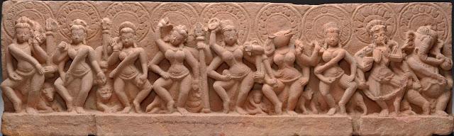 The Sapta Matrikas (Seven Mothers) depicted as dancers and warriors