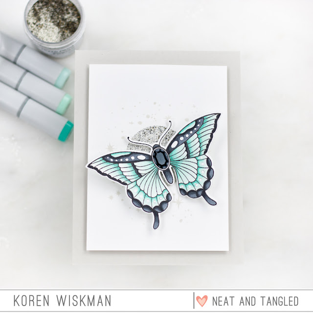 Neat and Tangled, Butterfly Beauties, Stamp set, moon and stars, stamping, die-cutting, blue, mint, green, gem, greeting card, Ranger, Simon Says Stamp, Copic Markers, heat embossing, koren wiskman, N